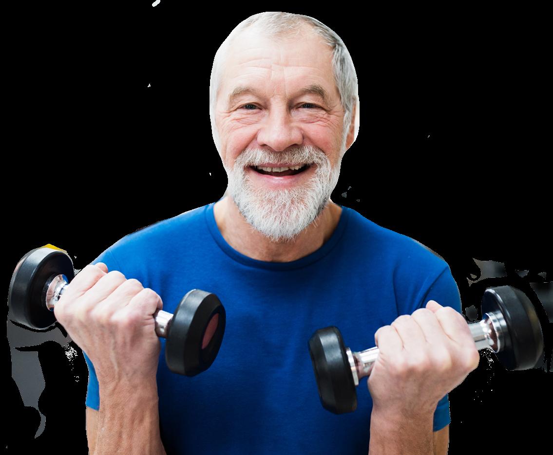 elderly man lifting weights