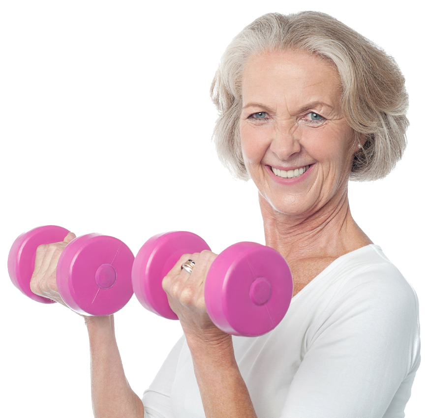 fit and active senior woman lifting dumbbells